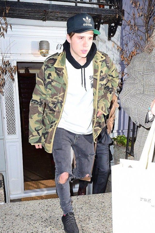 new arrival 21d83 55bf2 Brooklyn Beckham wearing Adidas Yeezy Boost 350, Adidas Original Trasher  Chain Snapback, Rag