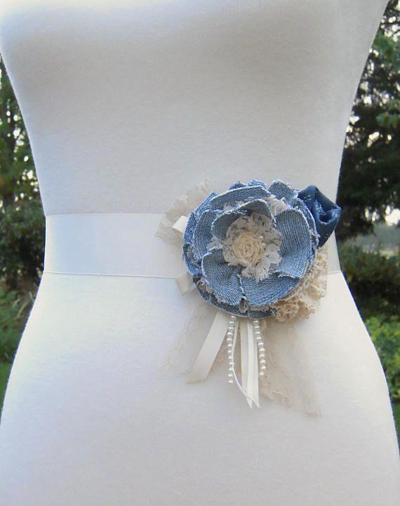 Denim Wedding Dress Sash Pin Rustic Flower Sash Belt Pin Denim