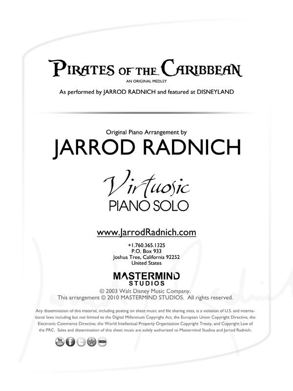 Pirates Of The Caribbean Virtuosic Piano Solo Sheet Music