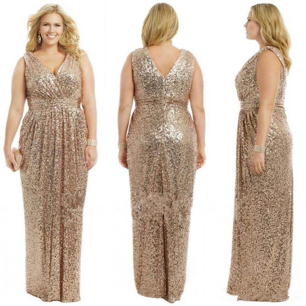 J102 Gold Wedding Prom Long Gowns Plus Size Elegant Champagne Rose Gold  Bridesmaid Dress 2015 Sequins Bling Gold Bridesmaid Dresses 3e2fae60d488