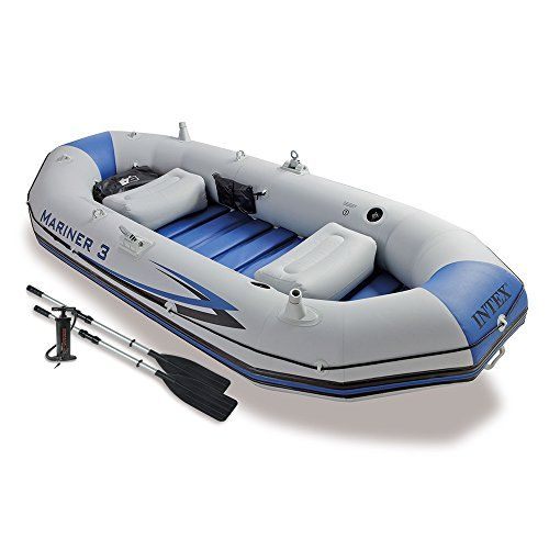 Air Pump Oar 4 Person Fishing Boat Set Inflatable Raft Dinghy Float River Lake