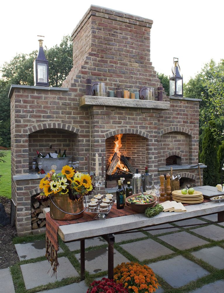 Who Loves This Gorgeous Outdoor Fireplace This Is The