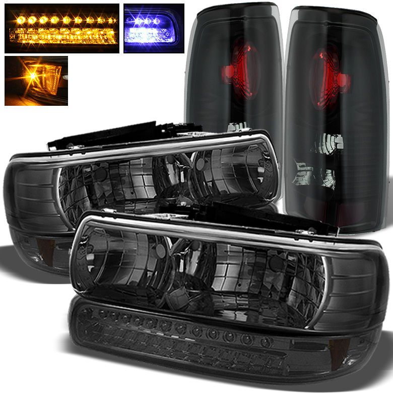 For 99 02 Silverado Smoked Headlights Led Bumper Black Smoked Tail Lights Set Black Smoke Lifted Chevy Trucks Tail Light