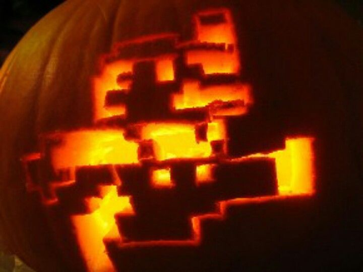 8 bit mario pumpkin stencil  7bit mario pumpkin   Pumpkin carving, Mario pumpkin ...