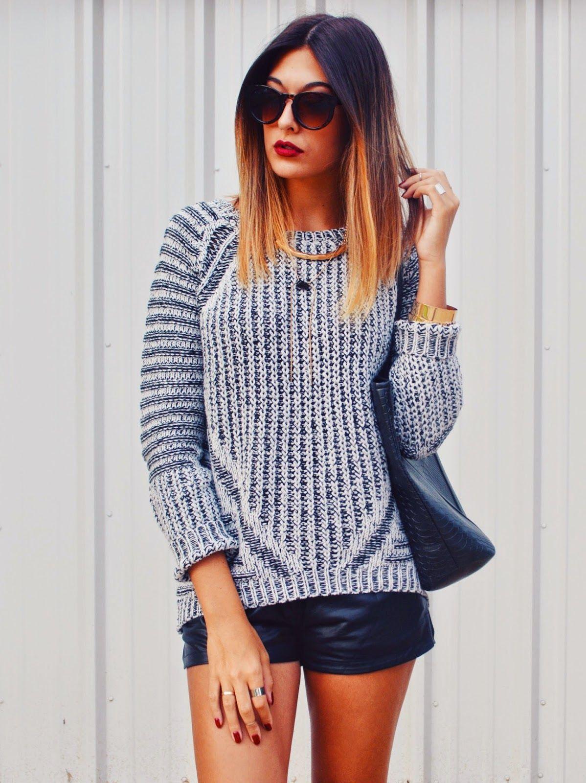f6030800408 Danielle DeHardt is wearing a grey knitwear sweater from Dex Clothing