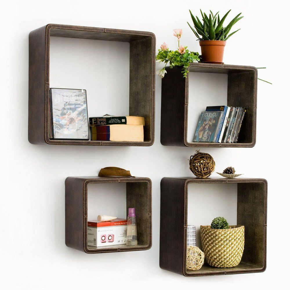 Saddle Leather Wall Box Shelf