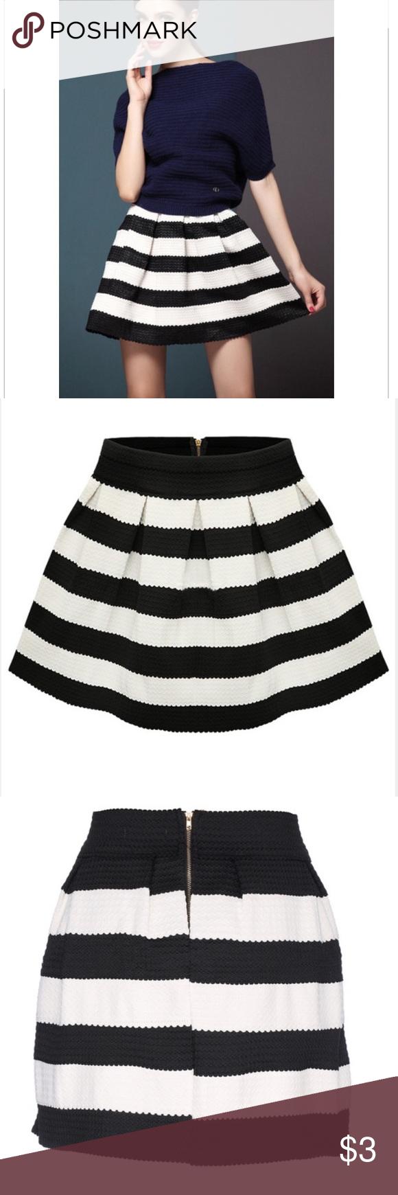 25ba2c118b Black Striped Elastic Pleated Bandage Skater Skirt Black Apricot Striped  Elastic Pleated Skirt Pattern Type :