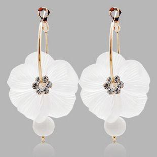 Fashion White Crystal Scrub Big Flower Big Circle Earrings Hoop Earrings
