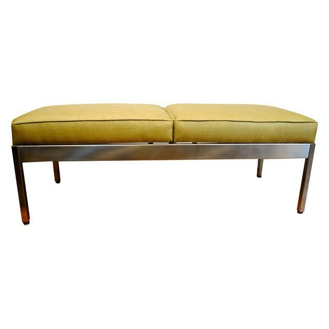 Image of Mid-Century Modern Stainless Upholstered Bench