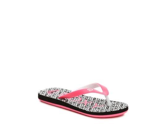 Women's Girls Roxy Tahiti Girls Toddler & Youth Flip Flop -Pink/Black/White - Pink/Black/White