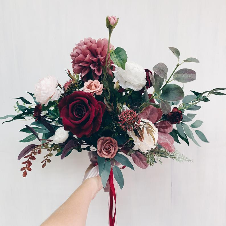 Wedding bouquet, Bridal bouquet burgundy, Wedding flowers, bouquet wedding burgundy #weddingbridesmaidbouquets