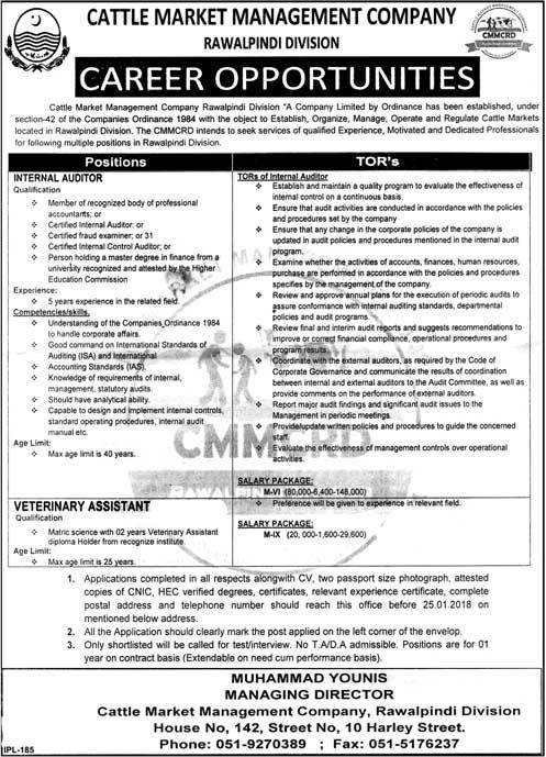 Cattle Market Management Company Cmmcrd Jobs  In Rawalpindi