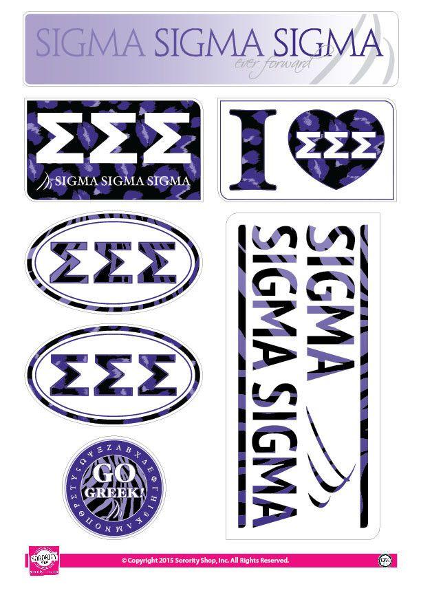 Sigma Sigma Sigma Lifestyle Stickers Print Stickers Animal Print Sorority Crafts