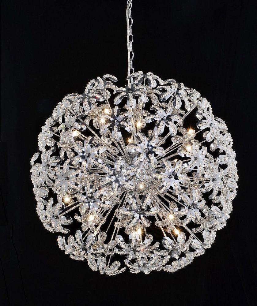 Crystal Round Chandelier Pendant Lamp Light Flower Petal Sphere 24 Chrome Deluxelamp Round Chandelier Lamp Light Pendant Lamp