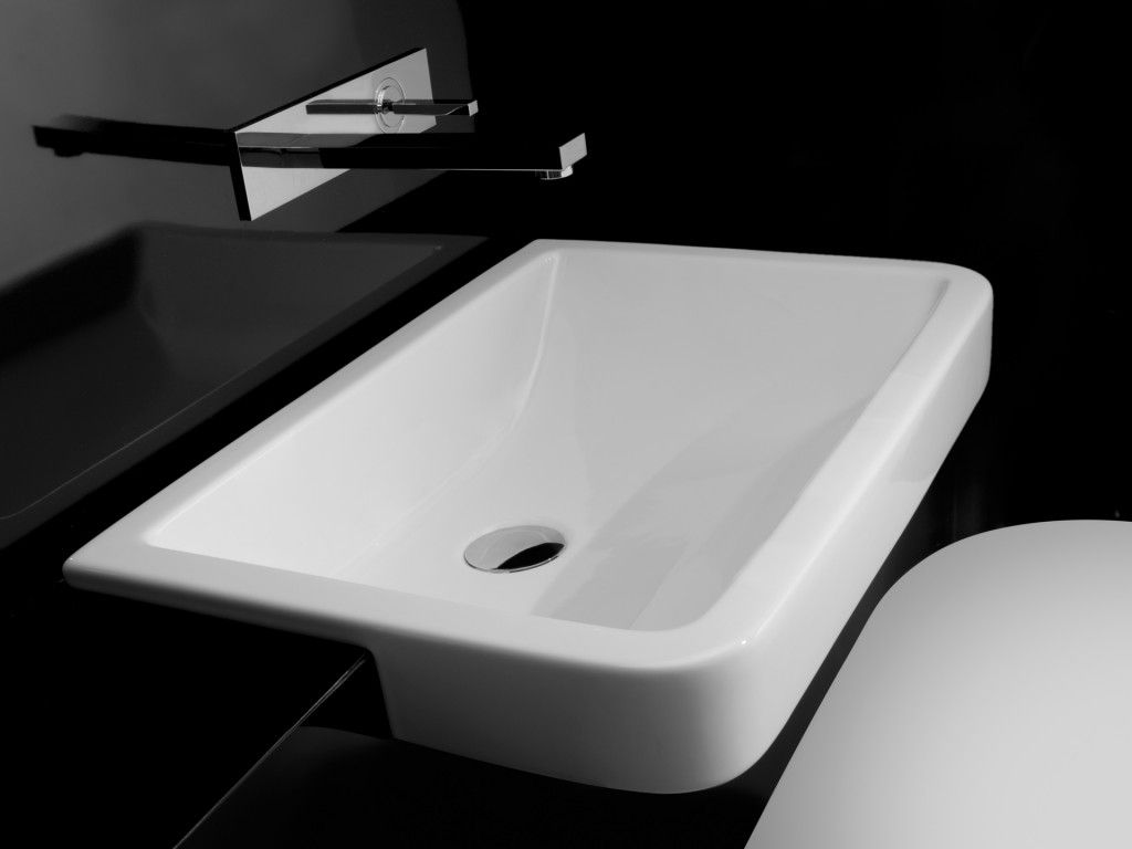 Valdama Chicane Semi Recessed Basin Designer Wash Basins For - Designer bathroom sinks singapore