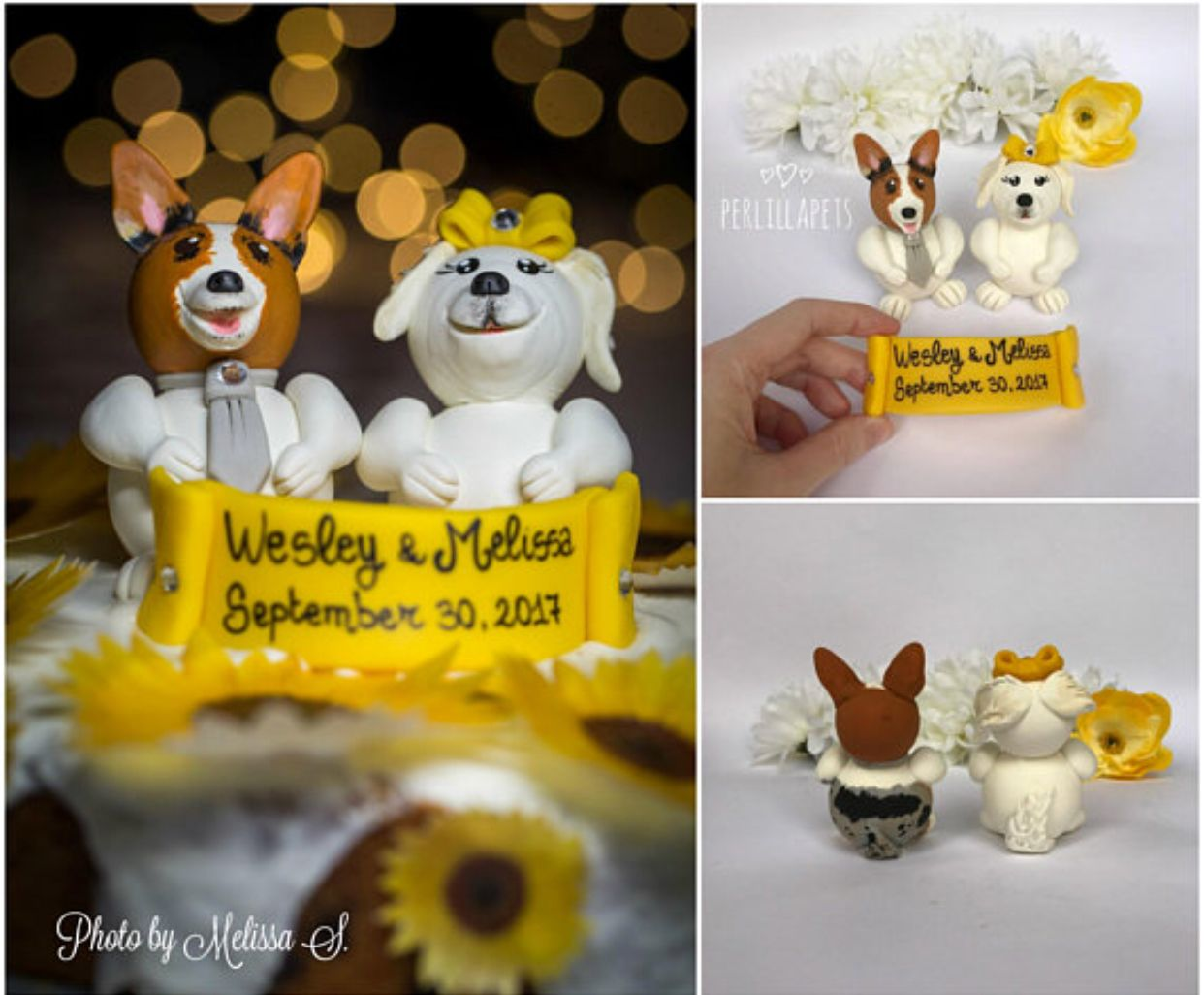 Bulldog wedding cake topper animal cake topper dog wedding cake