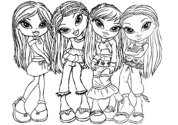 kleurplaat bratz meisjes groep 3 kleurplaten schets