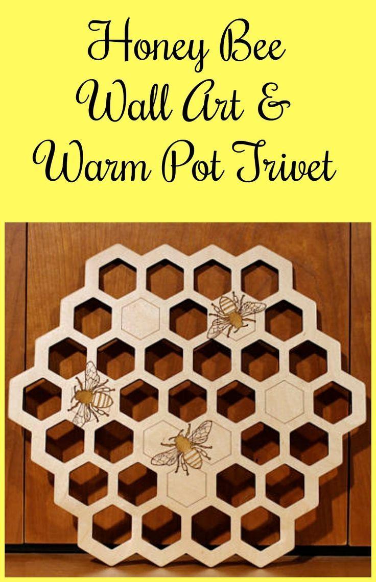 Honey bee Wall Art, Warm Pot Trivet, Laser Engraved, Paul Szewc ...