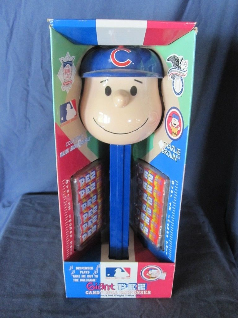 CHARLIE BROWN (Cubs) PEANUTS GIANT (12 inches) PEZ MUSICAL DISPENSER~ NEW IN BOX