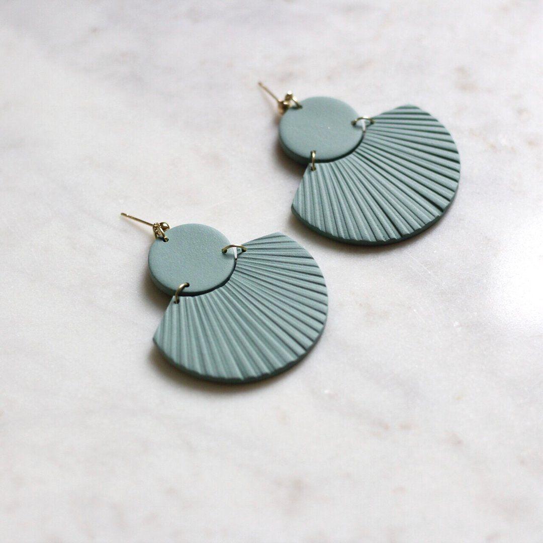 Geometric clay earring Green earrings clay Polymer clay earrings Half moon earrings