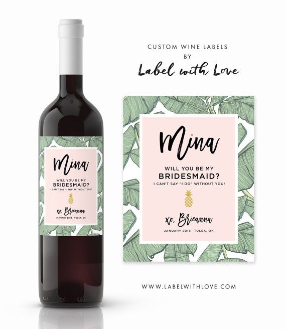 tropical palm will you be my bridesmaid wine labesl maid of honor