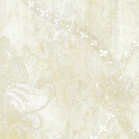 Cream Large Vintage Damask Wallpaper