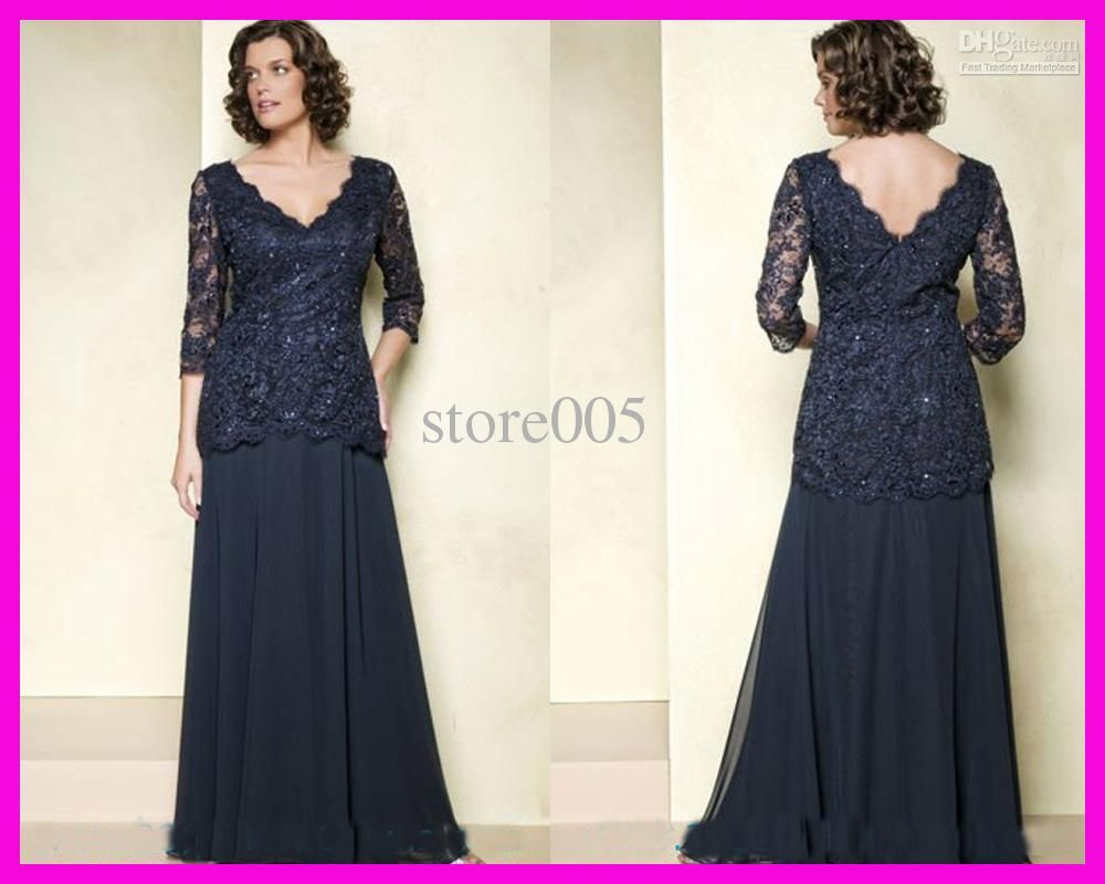 Navy Blue Mother Of The Bride Dresses Plus Size Long Sleeves ...