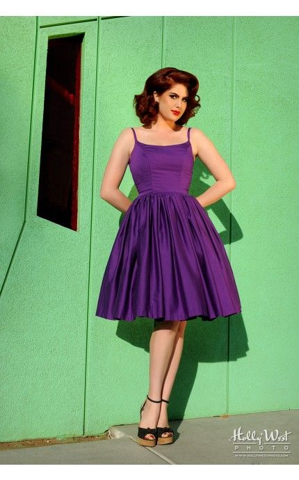 774e59abc21de Pinup Couture - Jenny Dress in Dark Purple | Pinup Girl Clothing ...
