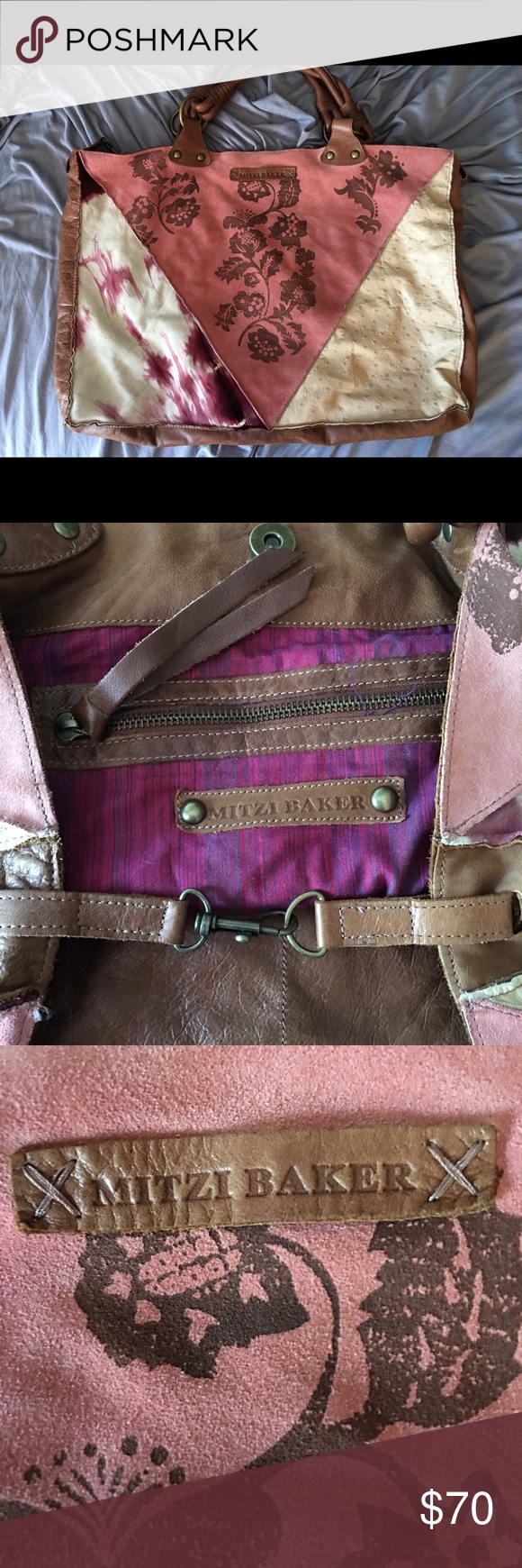 Mitzi Baker Hobo Bag Pink Blush Suede And Brown Leather Has Magnetic Snap Hook Closures Interior Is Magenta Purple Cotton With