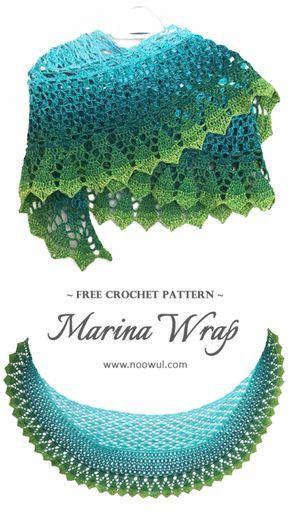Marina Wrap   Free Crochet Pattern on Noowul #freecrochetpattern #freeshawlpattern #noowul #lacyshawl #itsawrap #shawlcrochetpattern