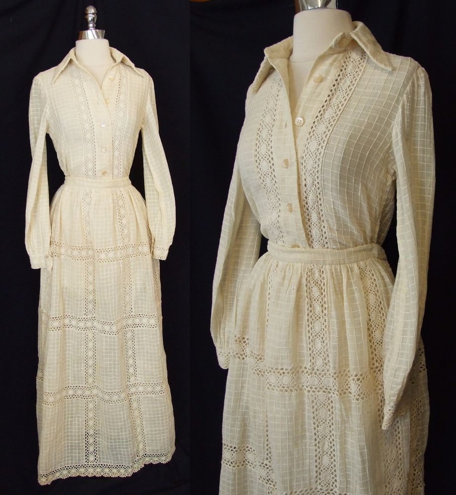 Vintage oscar de la renta ivory lace s boho prairie wedding dress