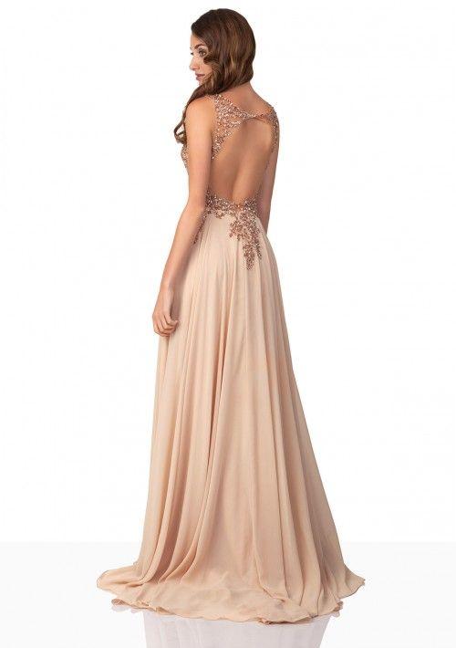 Chiffon-Abendkleid in Beige - bei VIP Dress günstig kaufen | Kleider ...
