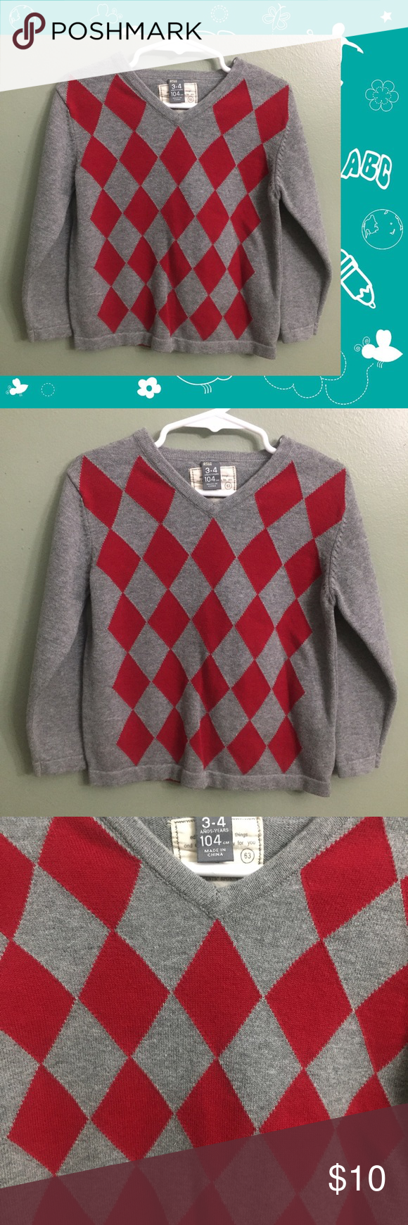 EUC Zara Kids Gray/Red Sweater, 3-4Y | Zara kids, Red sweaters and ...