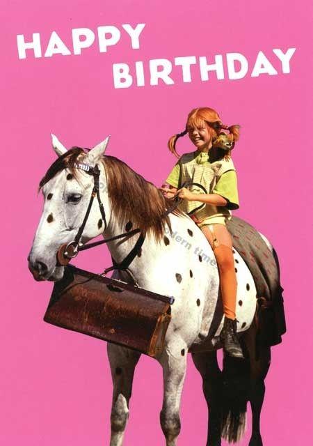 Postkarte Pippi Langstrumpf – Happy Birthday Postkarten Geburtstag #birthdayquotesforsister