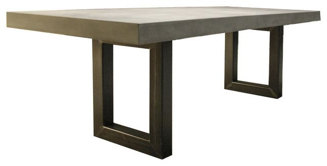 concrete kitchen table cheap trash can dining with metal base modern