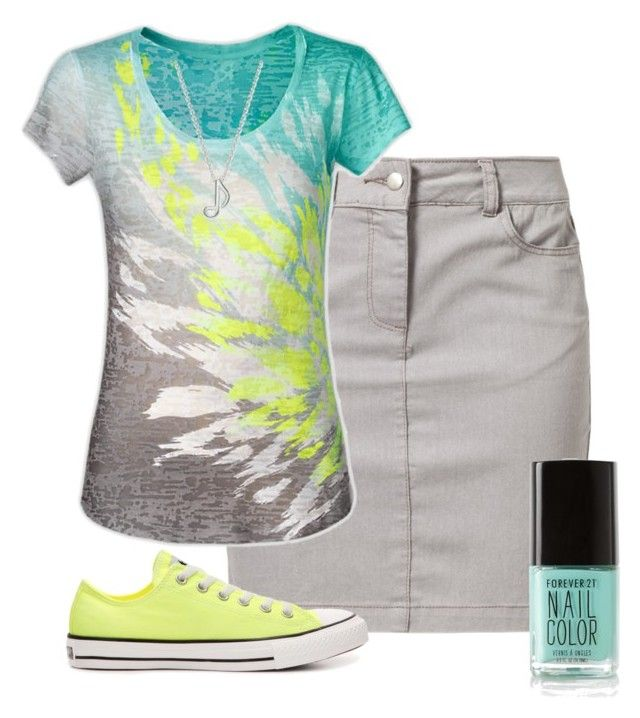 """""""Neon and Grey"""" by modest-16 ❤ liked on Polyvore featuring Kaffe, Converse and Forever 21"""