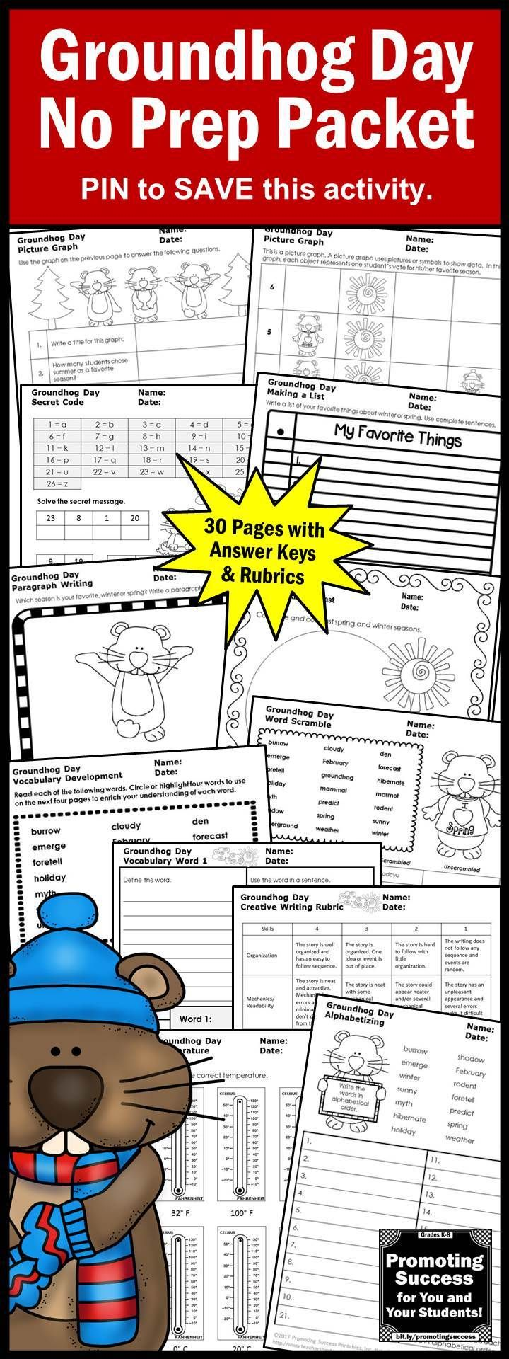 Groundhog Day Activities For Kids No Prep Language Arts Worksheets Word Work Centers This Packe Groundhog Day Early Literacy Activities Literacy Activities [ 1920 x 720 Pixel ]