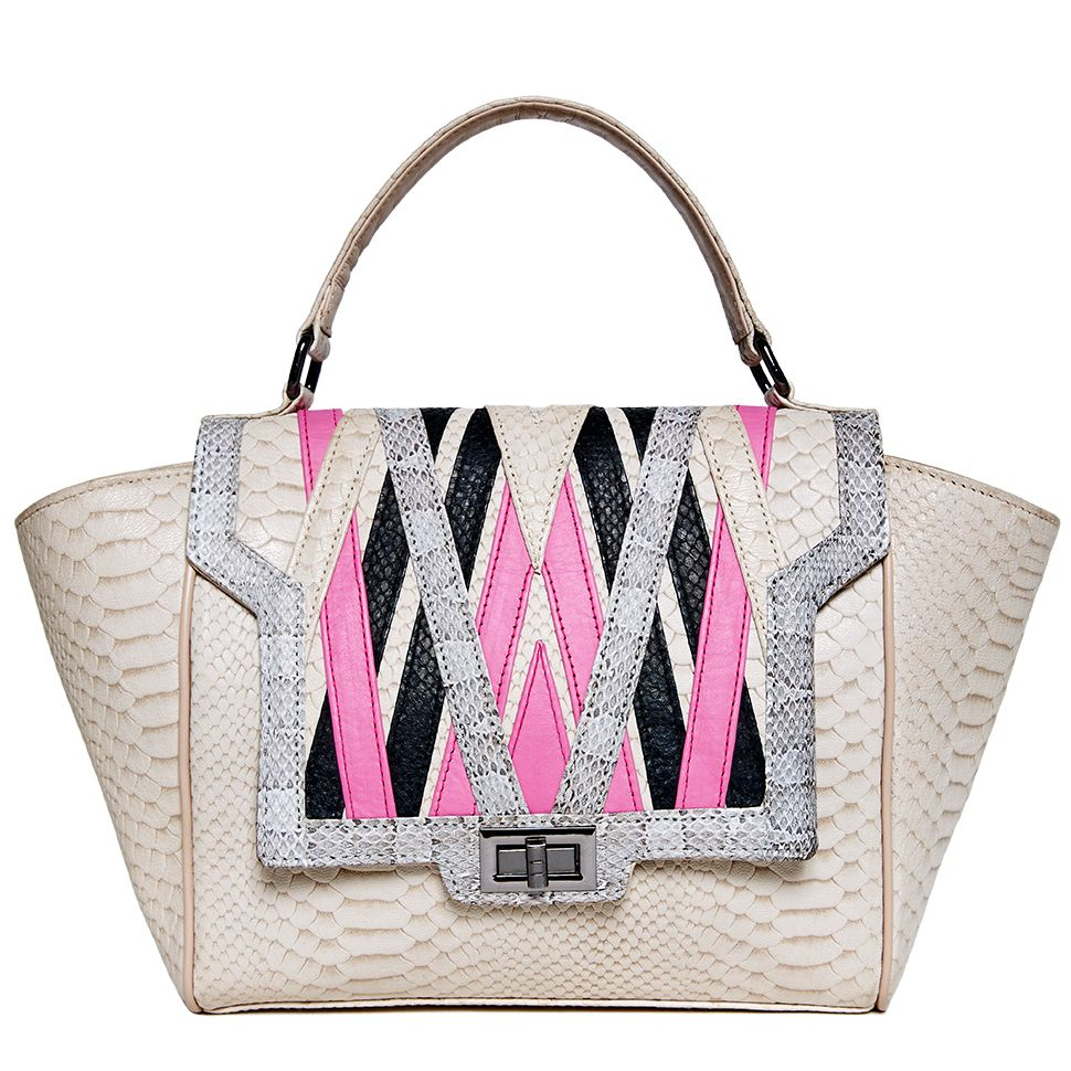 Edie Bag in pink/beige - #bubblegum #elyseandi #popofcolour The EDIE is a traffic stopping tote. It's richly interlaced pattern from snakeskin, calf and lamb leathers creates a unique and imaginative look.