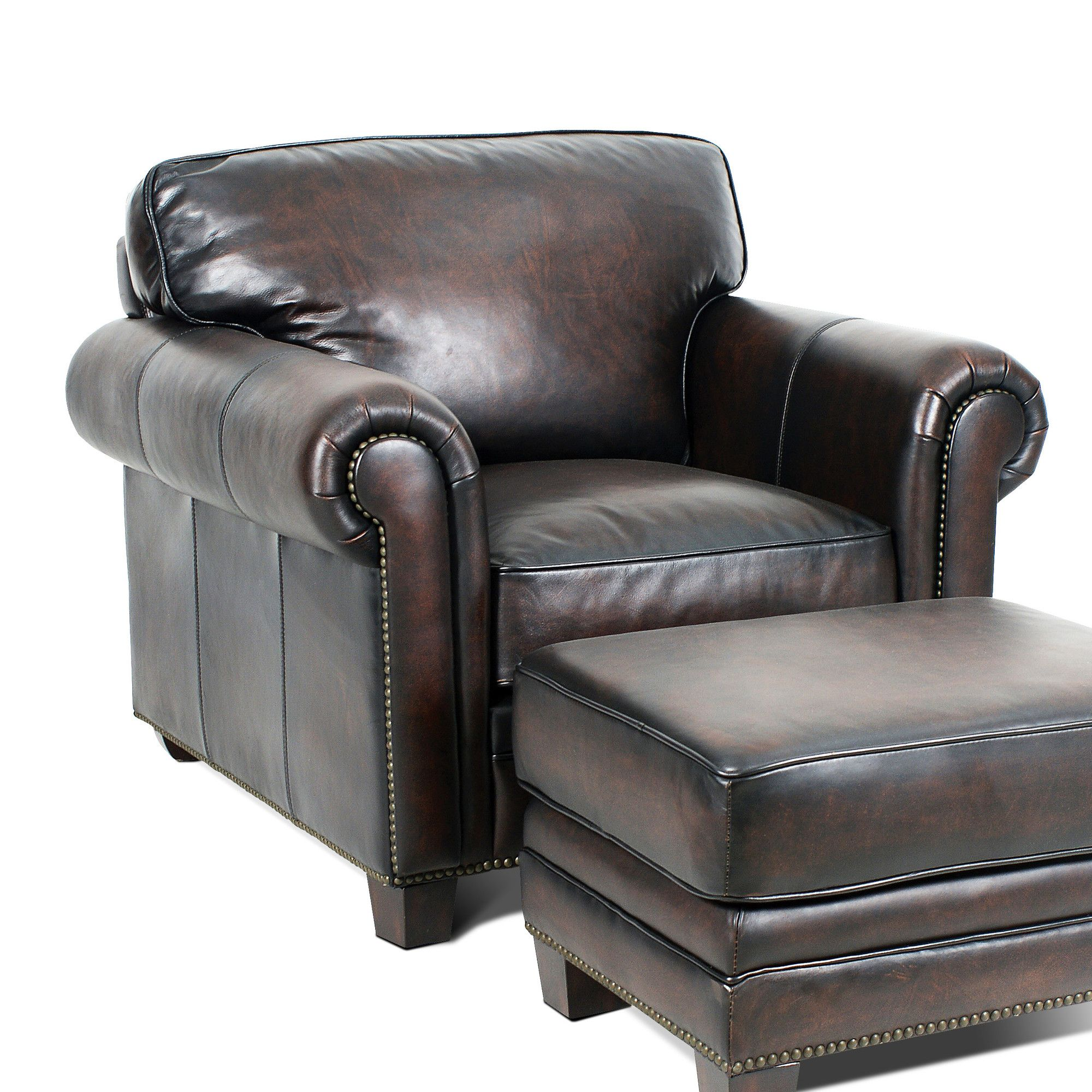 Hillsboro Club Chair Chair and ottoman, Luxury leather