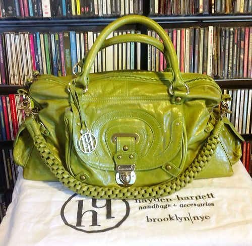 Gorgeous Hayden Harnett Leather Trophy Satchel Handbag Lime Green Brooklyn | eBay