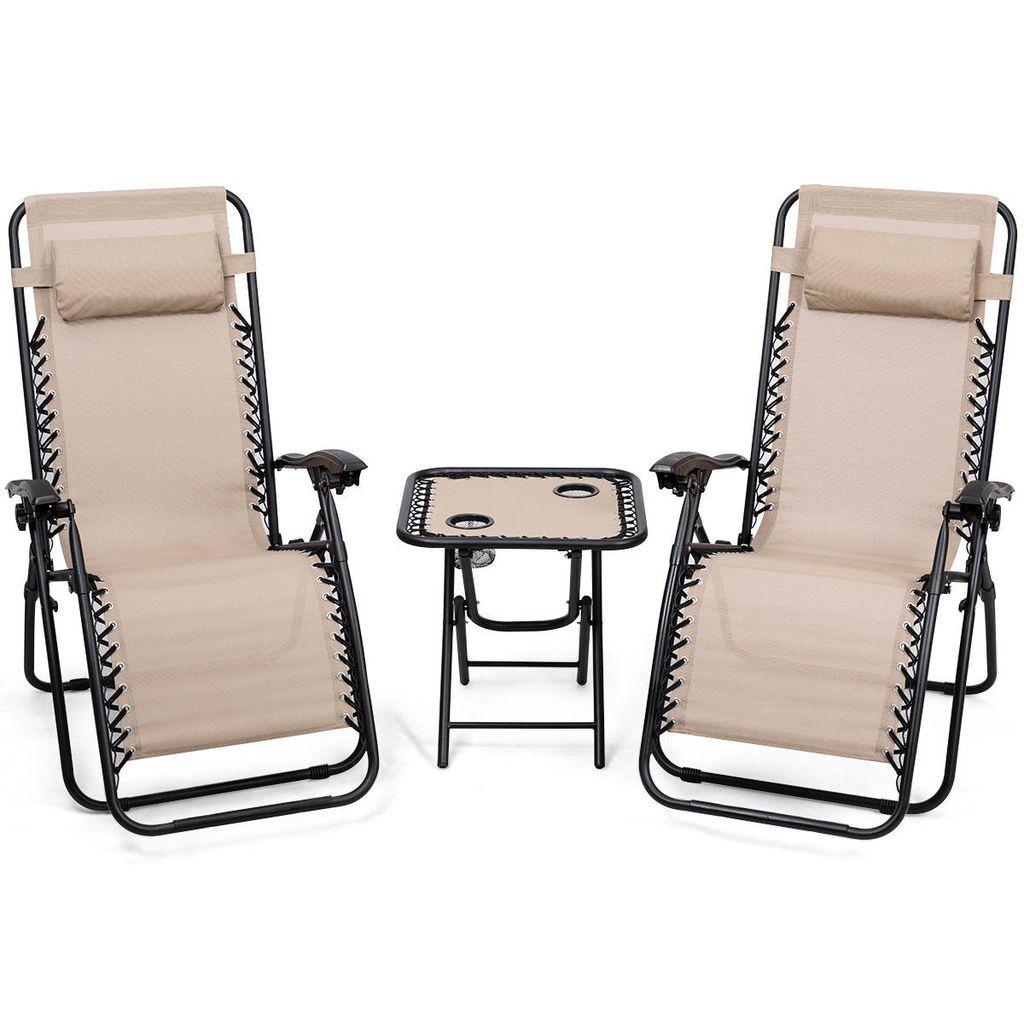Giantex 3pc Zero Gravity Reclining Lounge Chairs Table Op3475cf Lounge Chair Outdoor Outdoor Chairs Zero Gravity Chair Patio