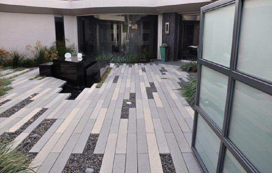 Modern Landscape With Concrete Plank Paver Patio Designs