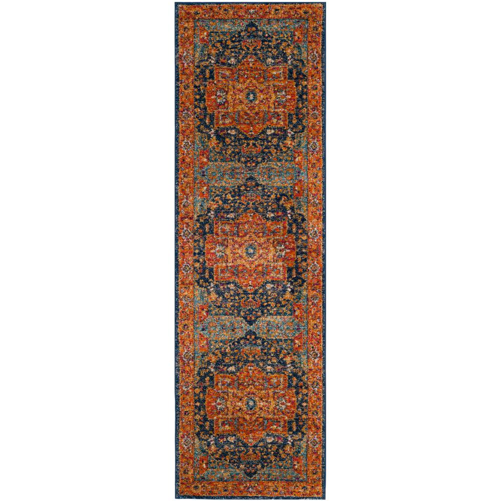 Safavieh Evoke Blue Orange 2 Ft X 11 Ft Runner Rug Evk275c 211 Orange Area Rug Rug Runner Area Rugs