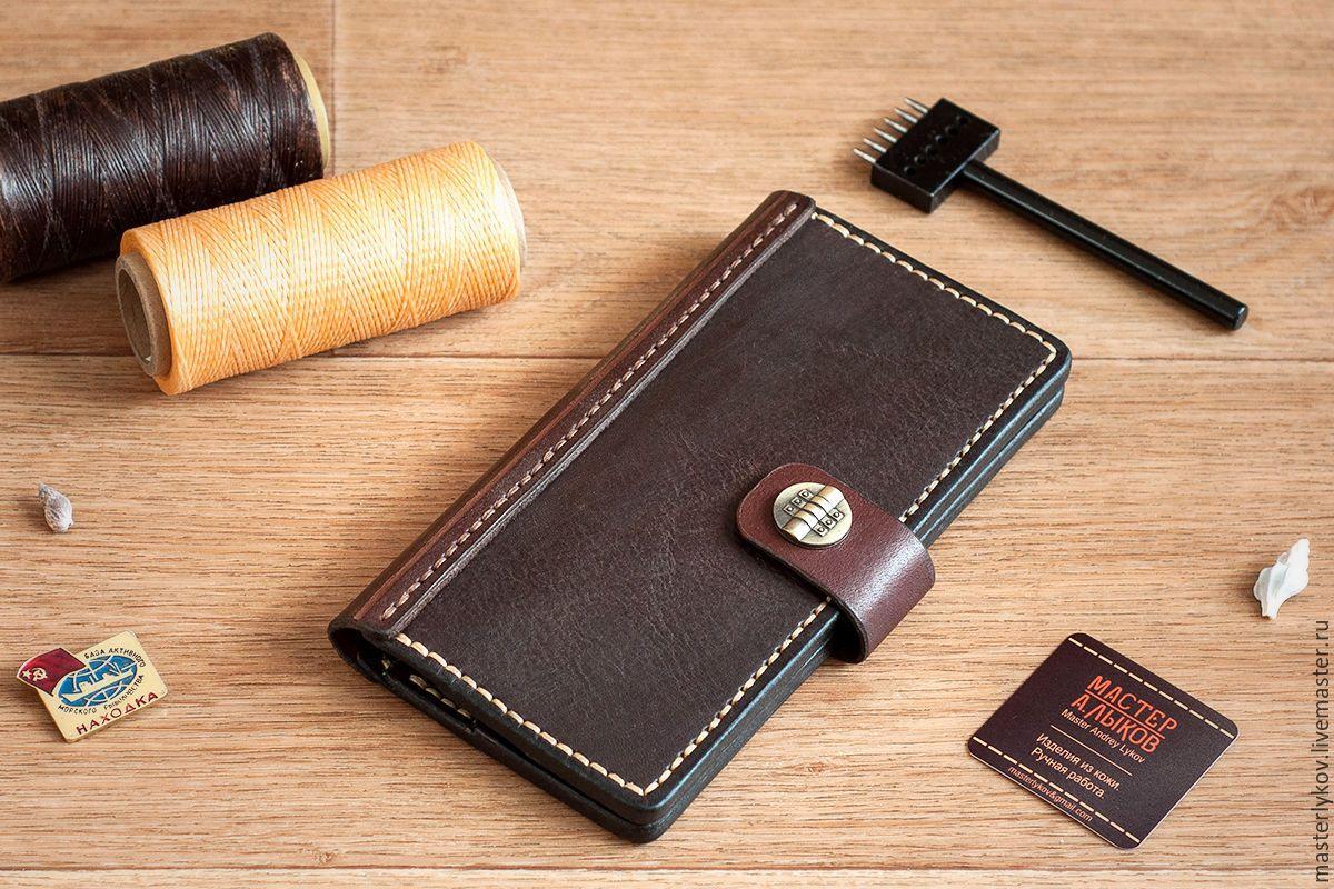 Купить Портмоне из кожи - коричневый, кошелек, портмоне, портмоне из кожи, кошелек из кожи, изделие из кожи