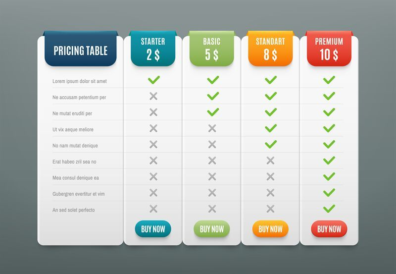 Comparison Pricing List Comparing Price Or Product Plan Chart Servic By Tartila Thehungryjpeg Com Comparing Pricing Table Price List Infographic Comparison