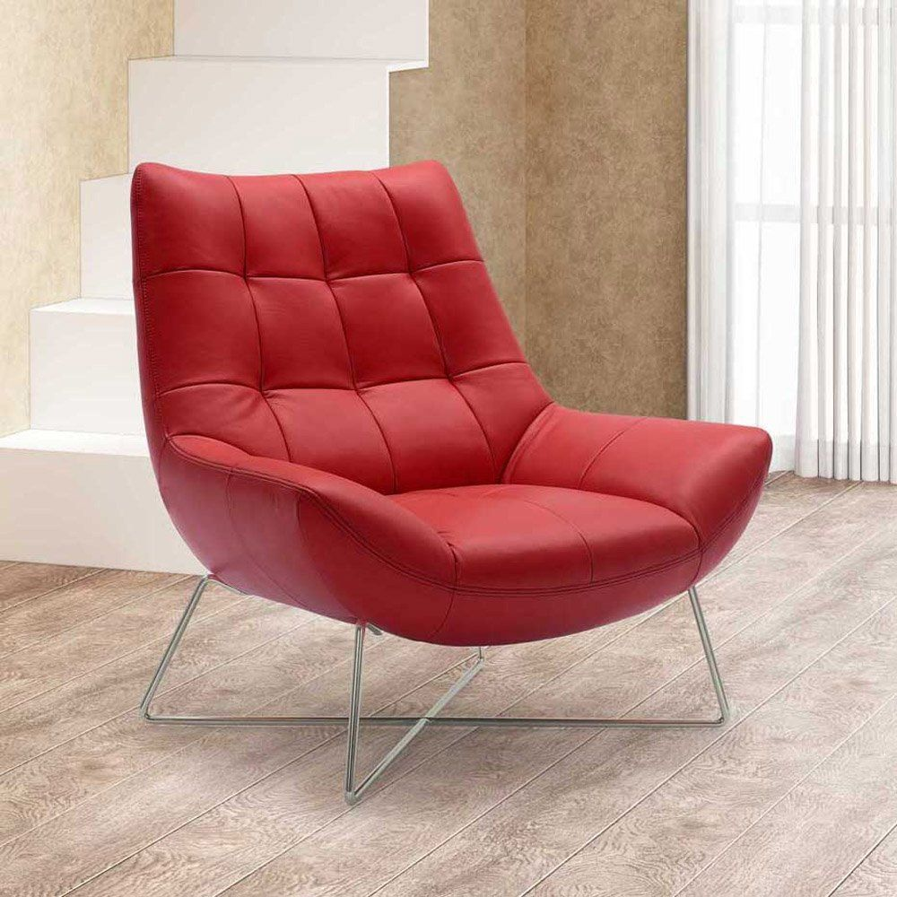 Red Leather Accent Chair Contemporary Lounge Chair Leather