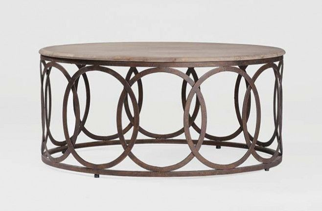 Ella Round Coffee Table Gabby Aged Oak Top Rustic Russet Iron Base 40 Dia X 18 H Decor