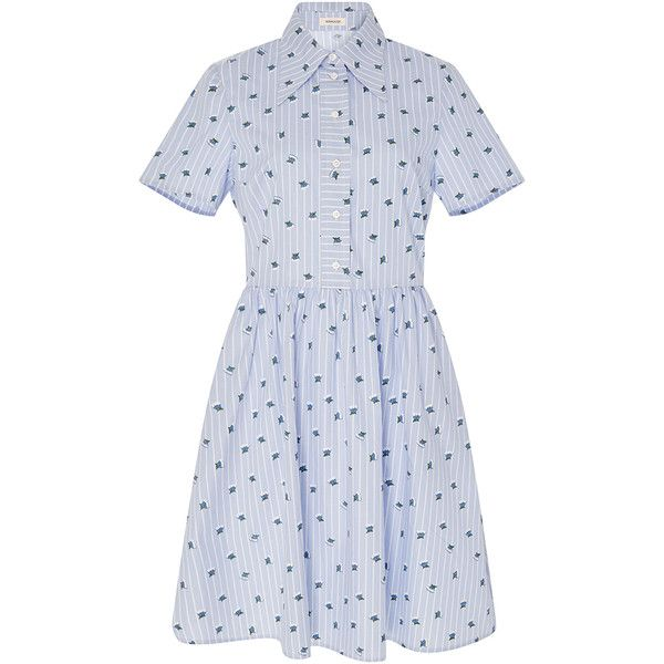 Manoush Short Sleeve Button Up Collar Dress ($430) ❤ liked on Polyvore featuring dresses, short sleeve dress, cotton dress, collar dress, flared mini skirt and striped dress