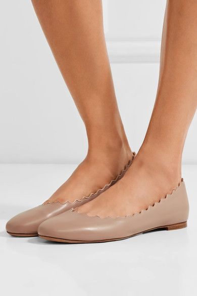 fa2a006a00f4 Chloé - Lauren Scalloped Leather Ballet Flats - Blush - IT35.5 ...