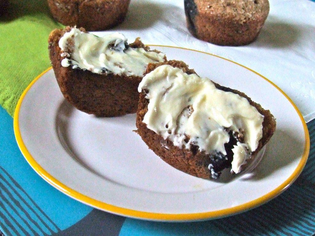 Whole wheat vegan banana blueberry muffins